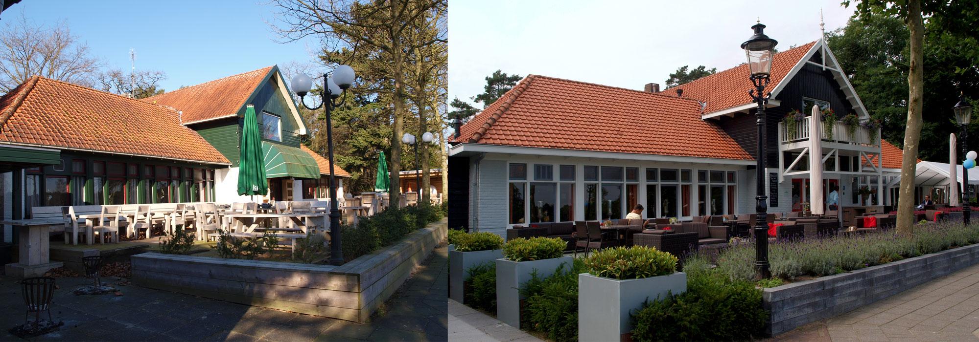Restaurant en terras vóór en na de verbouwing