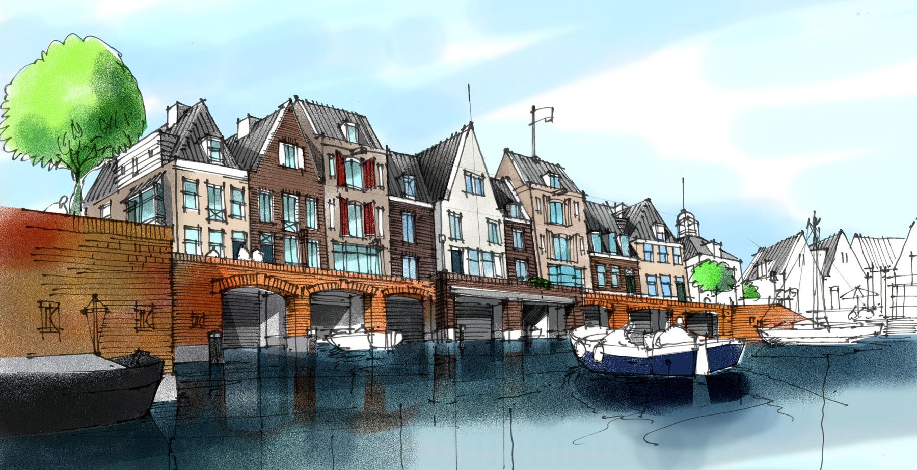 Concept boothuizen aan de haven