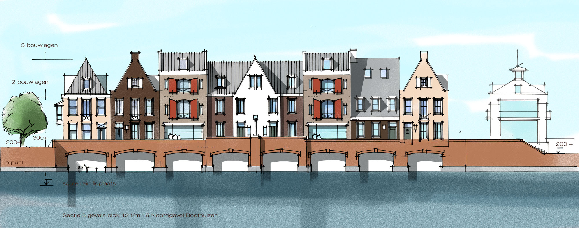 Concept boothuizen gevelaanzicht op schaal