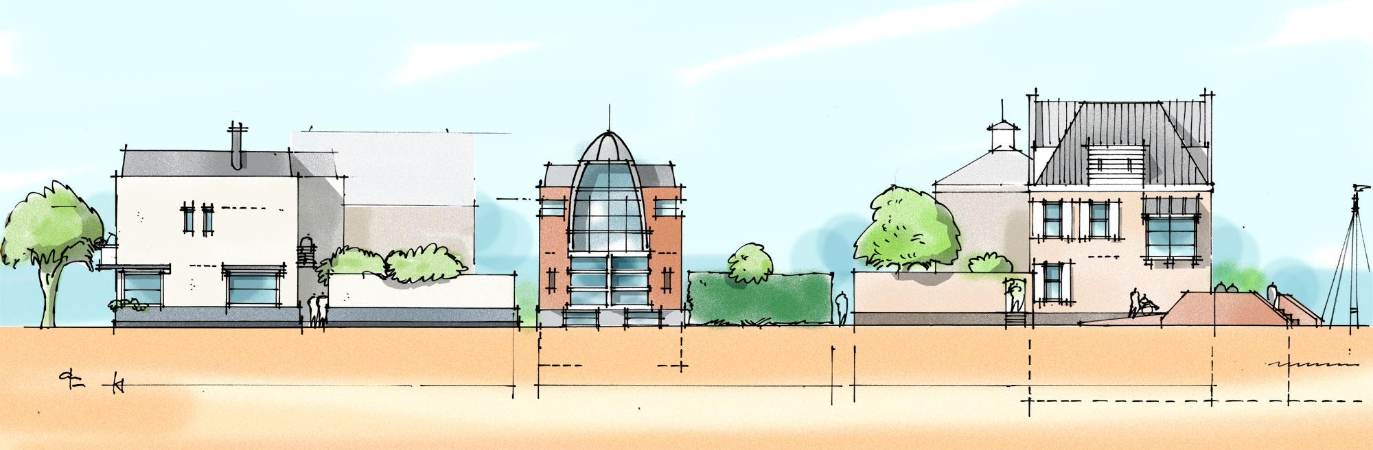 Concept gevelaanzicht straatbeeld