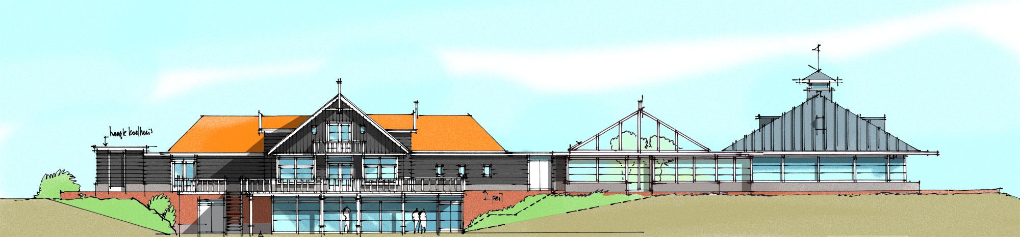 Concept renovatie achtergevel restaurant en zwembad